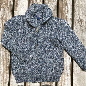 POLO Heathered Blue Shawl Collar Cardigan Sweater